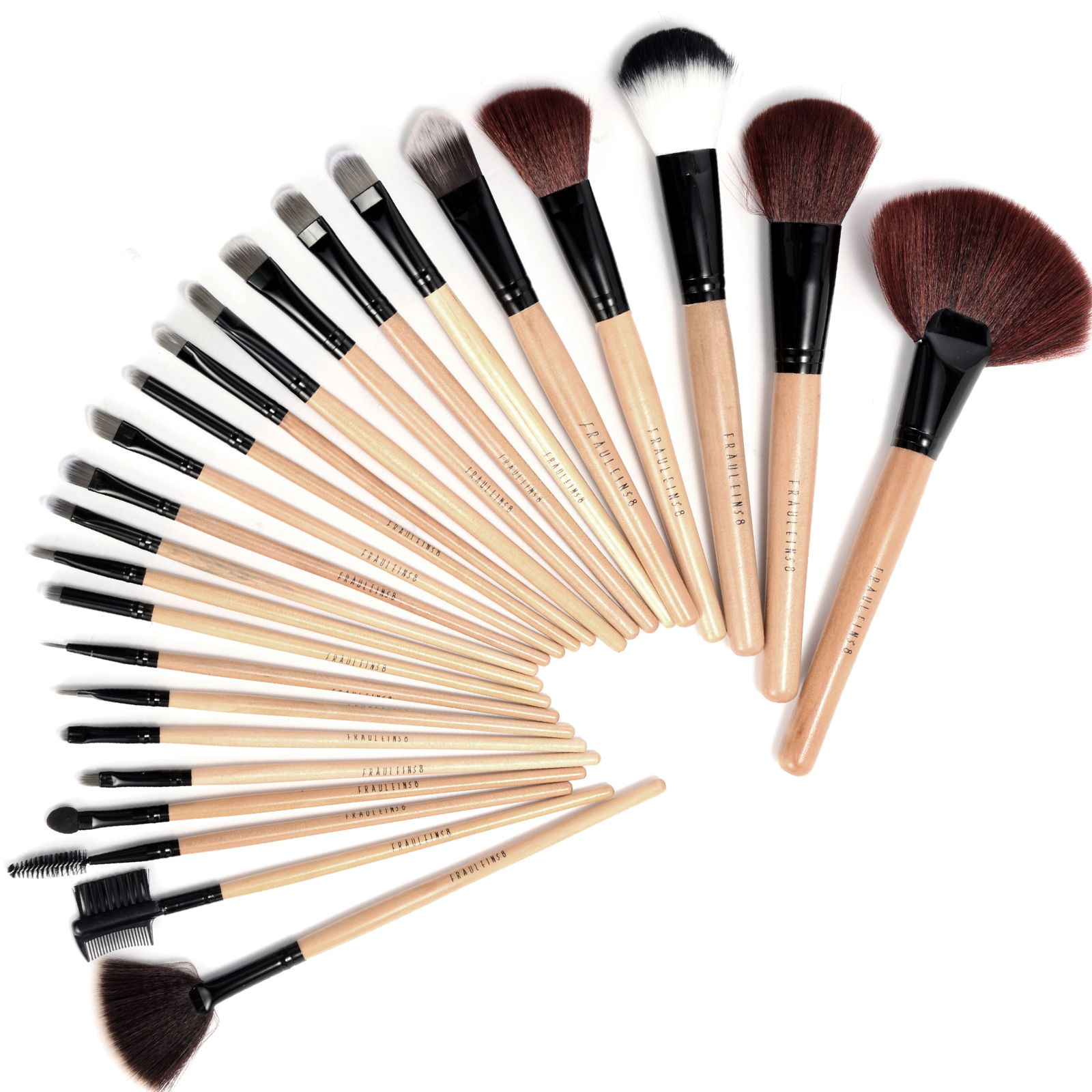 fr ulein38 24teilig kosmetik make up pinsel brush holzgriff schwarz etui set ebay. Black Bedroom Furniture Sets. Home Design Ideas