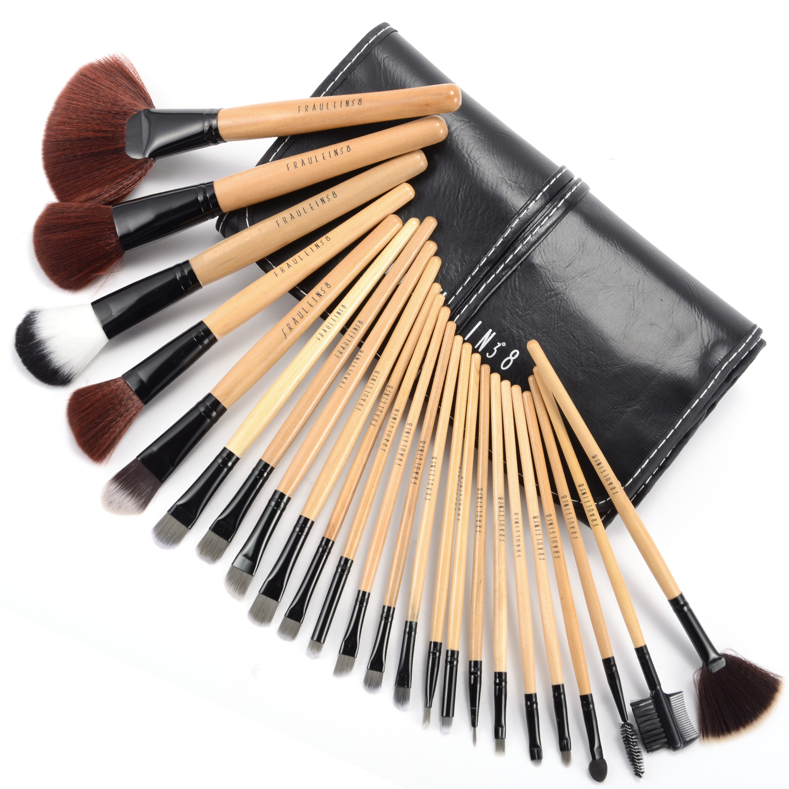 fraulein38 24tlg pinsel brush make up set pinselset 9 motive tasche ebay. Black Bedroom Furniture Sets. Home Design Ideas