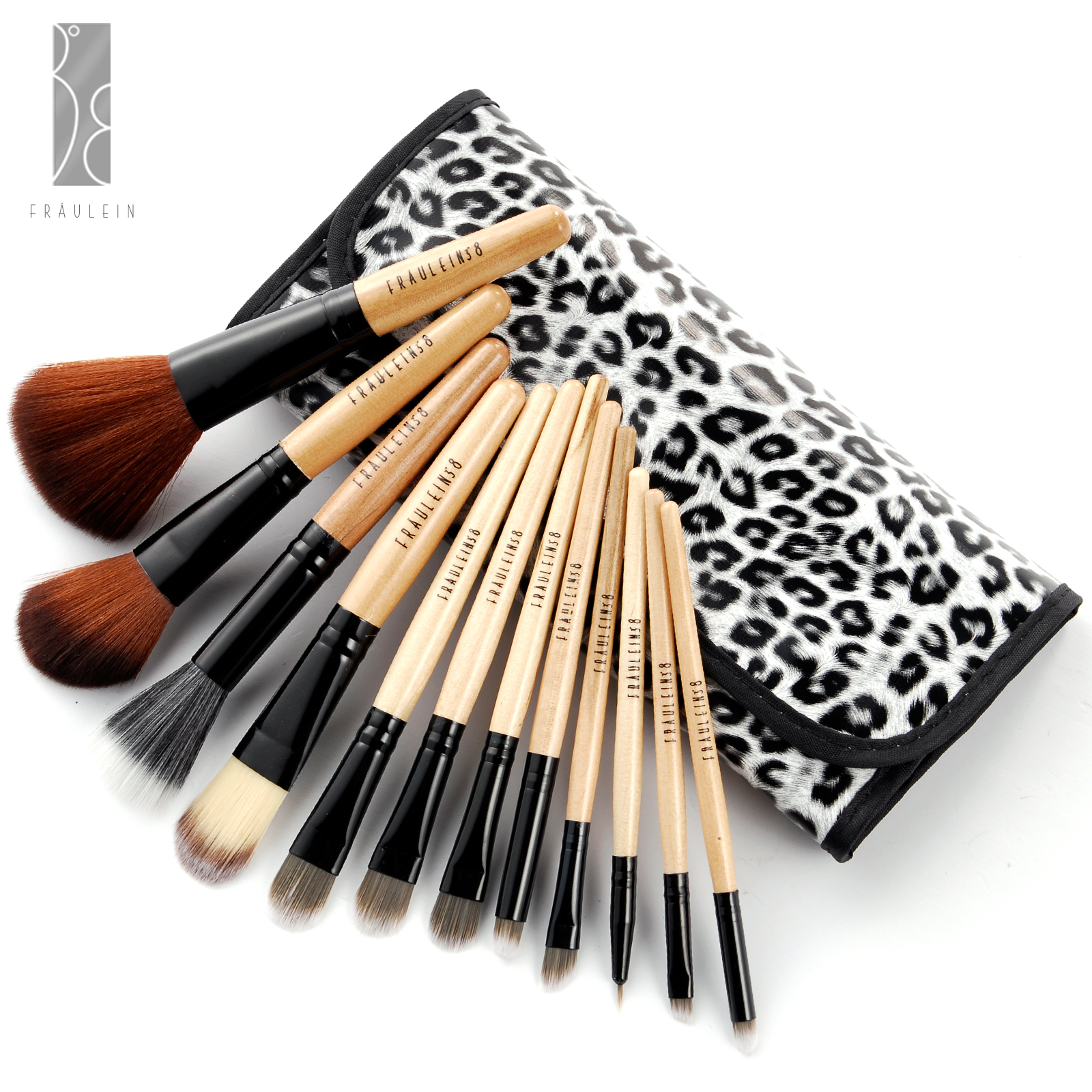 Fräulein3°8 12 Pcs Wooden Brushes Set Cosmetic Make Up Brush With Case
