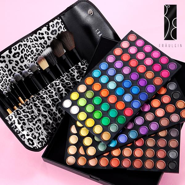 Fraeulein38-180-Farben-Lidschatten-Palette-Eyeshadow-12-tlg-Pinselset-Leopard