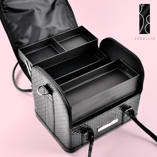 sac bijoux coffre maquillage manucure ongle boite mallette veine diamant noir ebay. Black Bedroom Furniture Sets. Home Design Ideas