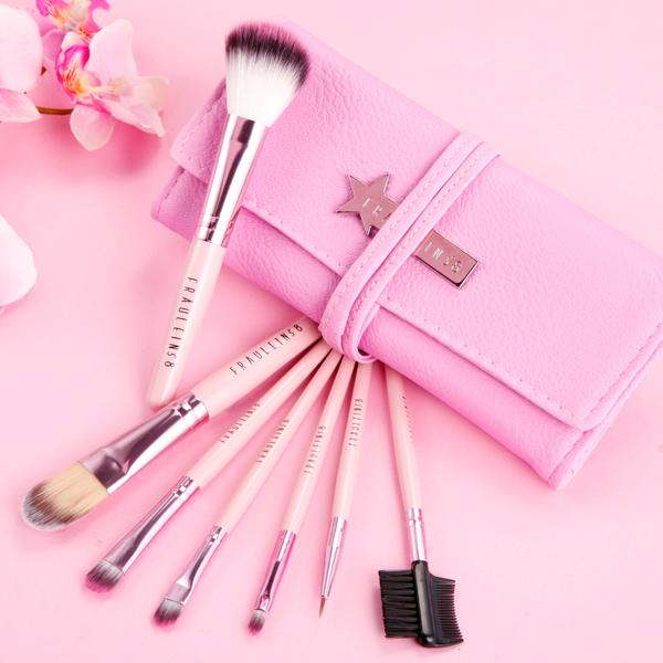 fr ulein 38 7 pink pinsel brush make up set kosmetik. Black Bedroom Furniture Sets. Home Design Ideas