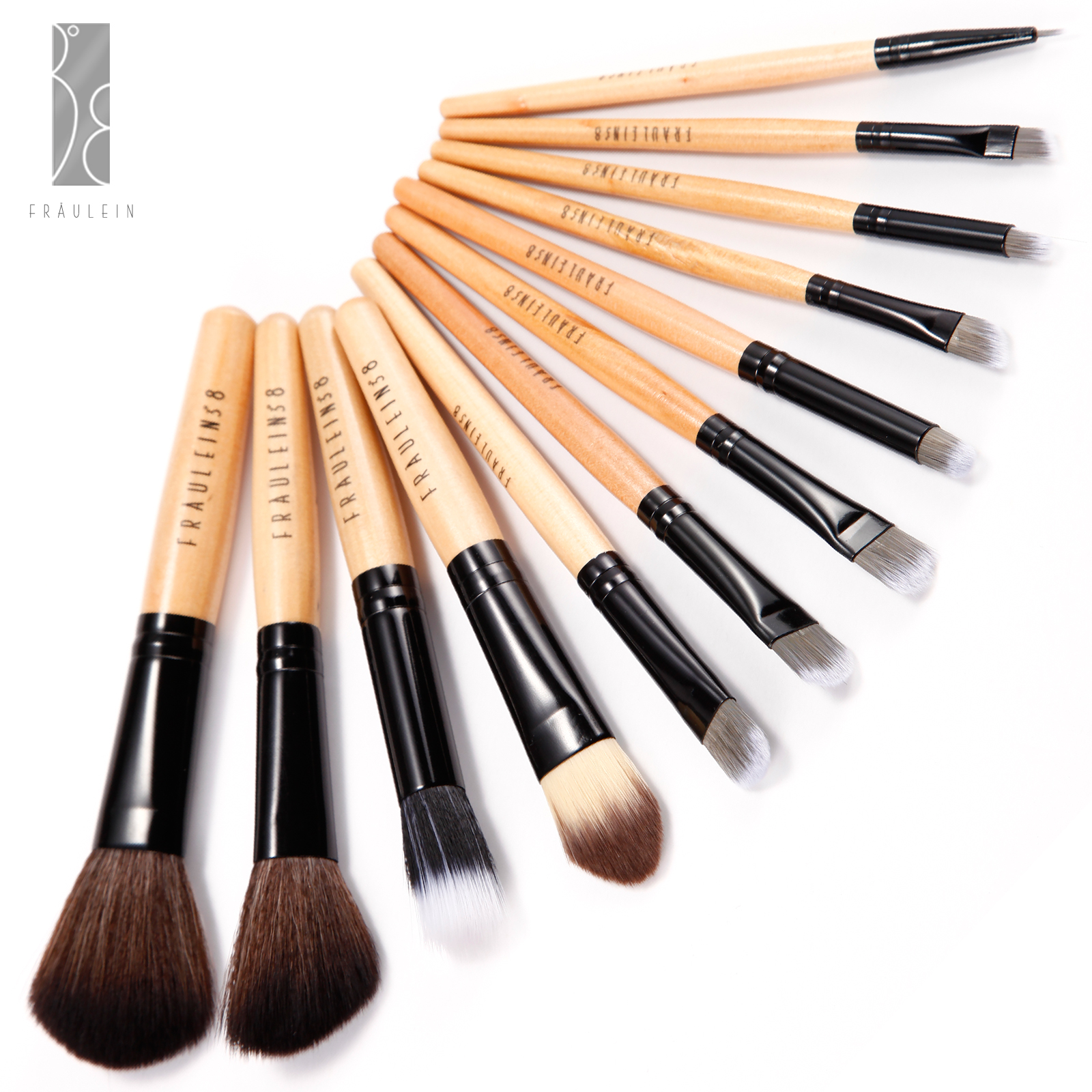 fraulein3 8 12 tlg pinsel set brush set kosmetik mit tasche etui schlage motive ebay. Black Bedroom Furniture Sets. Home Design Ideas