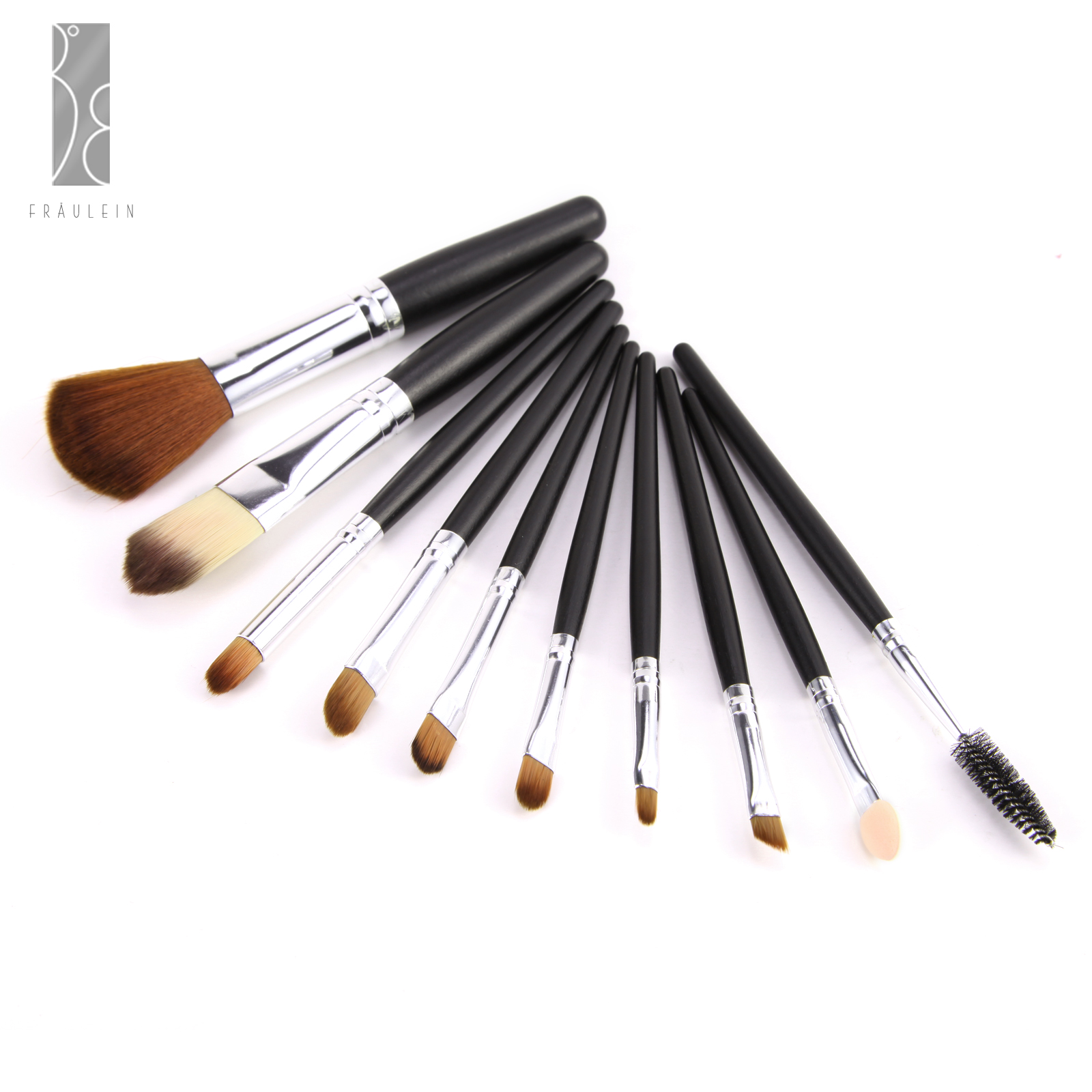 Fr ulein3 8 10 pieces mix amp match wooden brush makeup brushes set with brown case ebay - Matching wood pieces of different colors ...