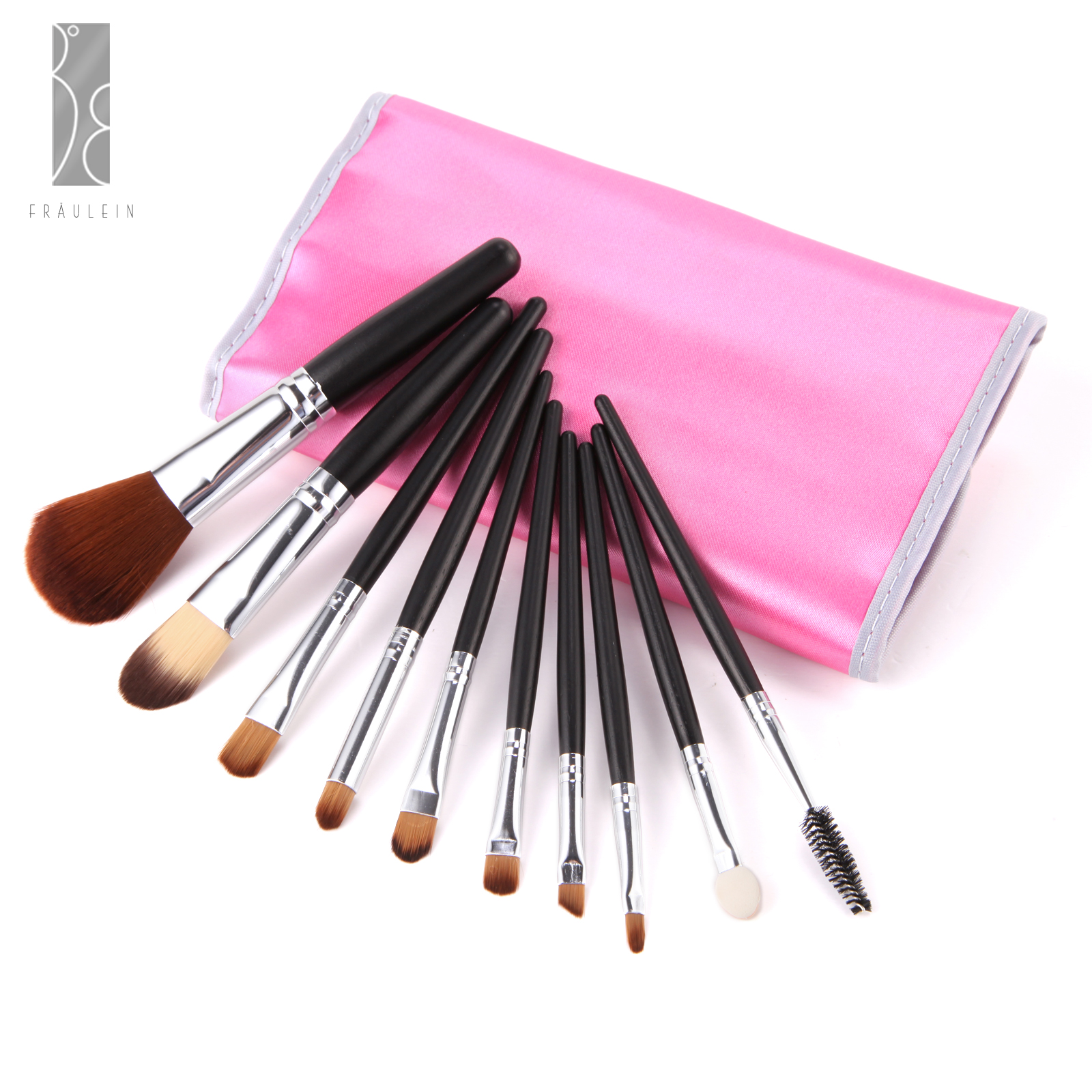 10tlg pinsel make up set brush b rste schminkpinsel mit schminken tasche ebay. Black Bedroom Furniture Sets. Home Design Ideas
