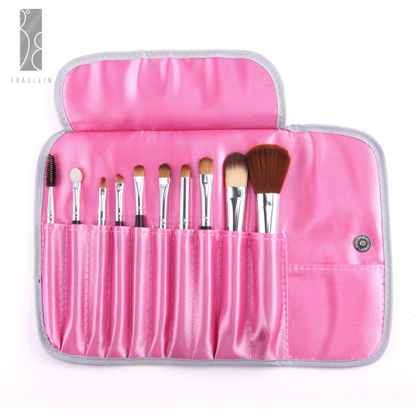Fr ulein3 8 10 pieces mix amp match wooden brush makeup brushes set with pink case ebay - Matching wood pieces of different colors ...