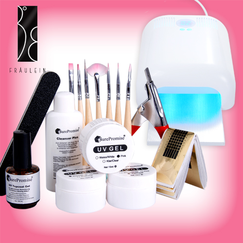 36w uv light nail art curing lamp uv gel starter kit ebay. Black Bedroom Furniture Sets. Home Design Ideas