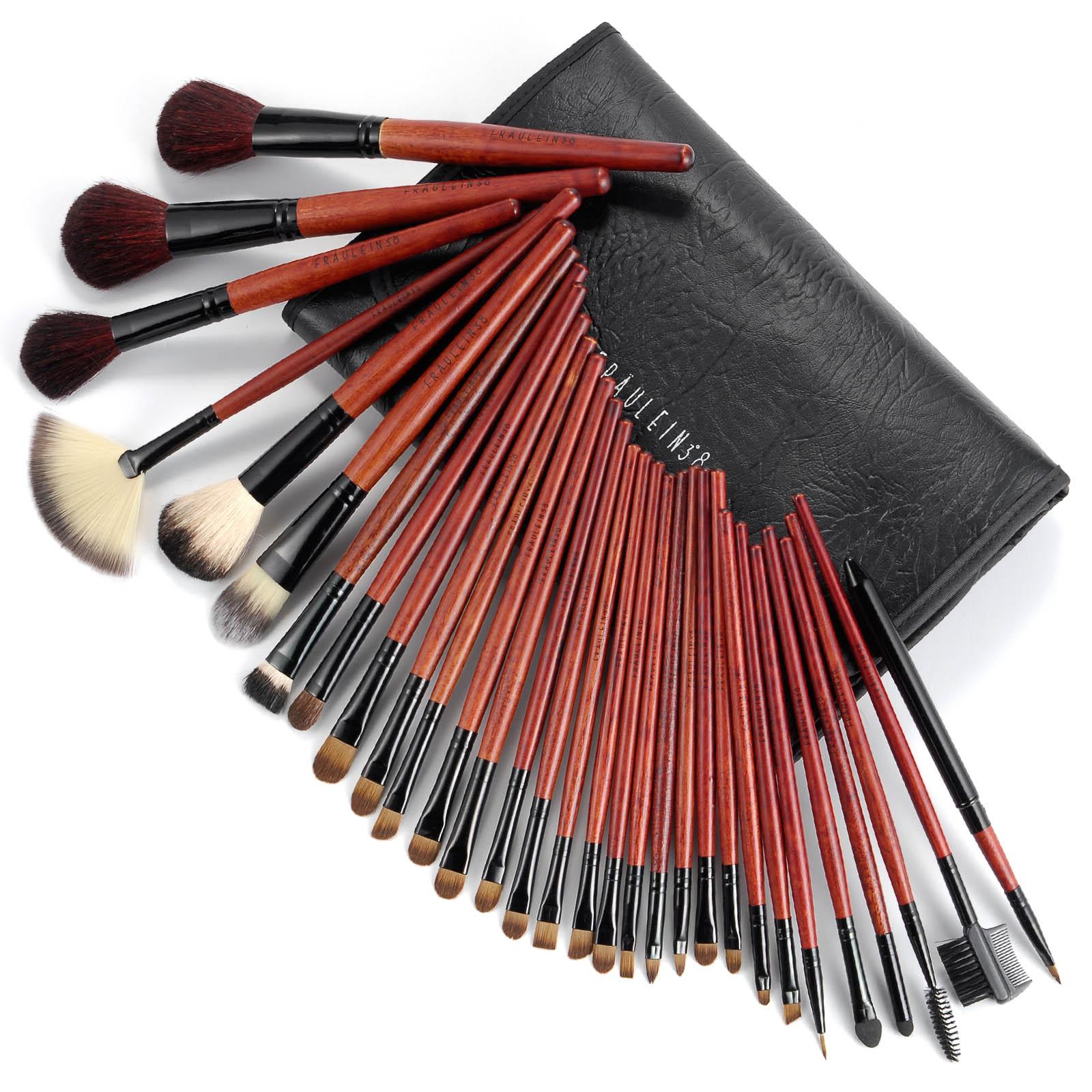 31pcs Professional Makeup Brushes Brush Wood Kit Cosmetic Set 36 Pcs Facial Make Up Tools With Black Leather Case X 31 1